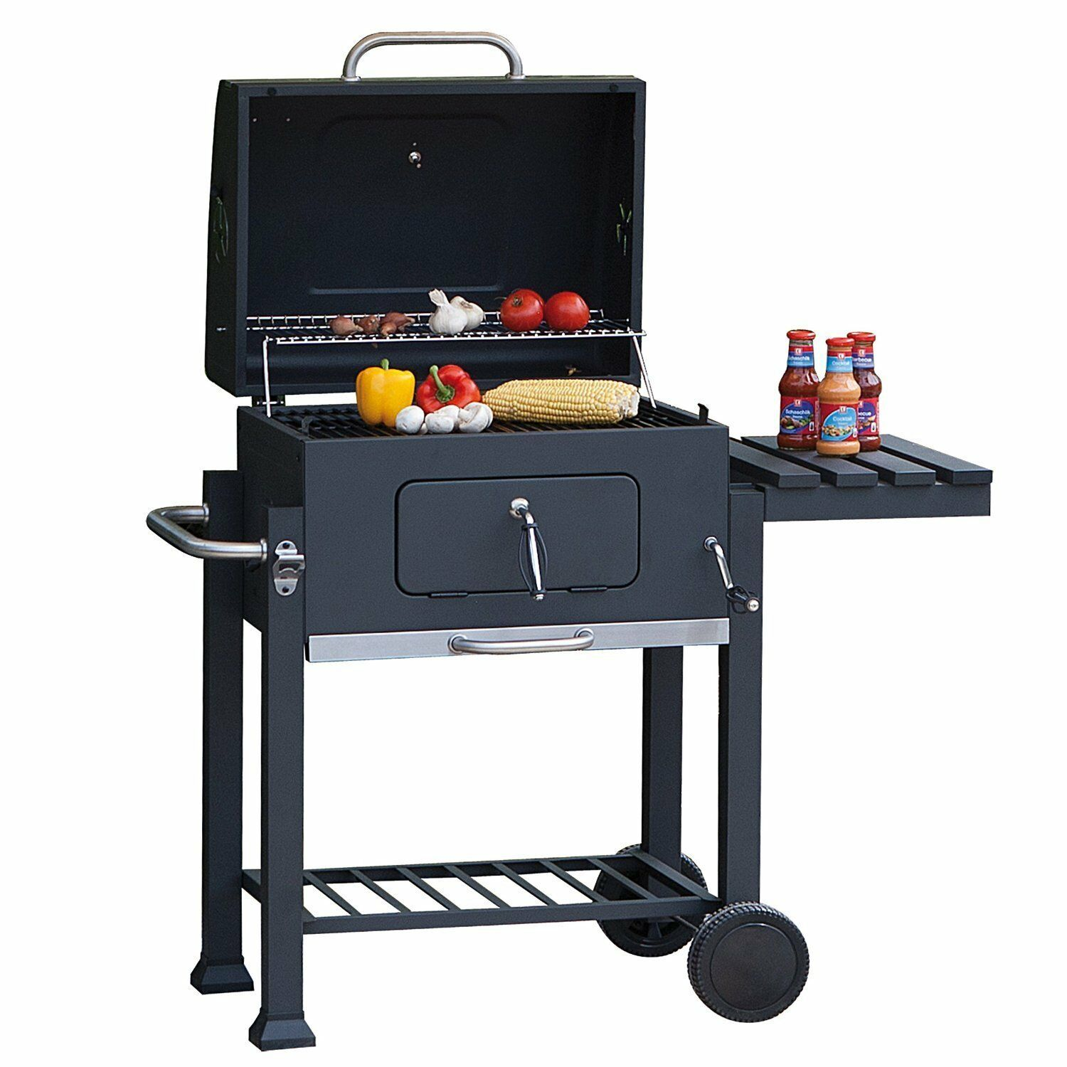 tepro grillwagen toronto holzkohlegrill smoker bbq r ucherofen thermometer stand picclick fr. Black Bedroom Furniture Sets. Home Design Ideas