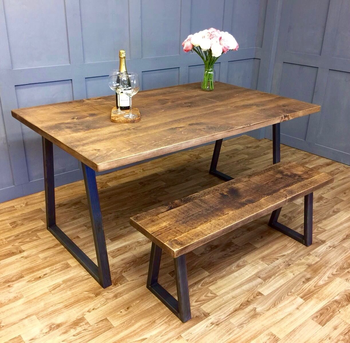 Industrial Dining Table Rustic Solid Antique Kitchen Farmhouse Vintage Reclai