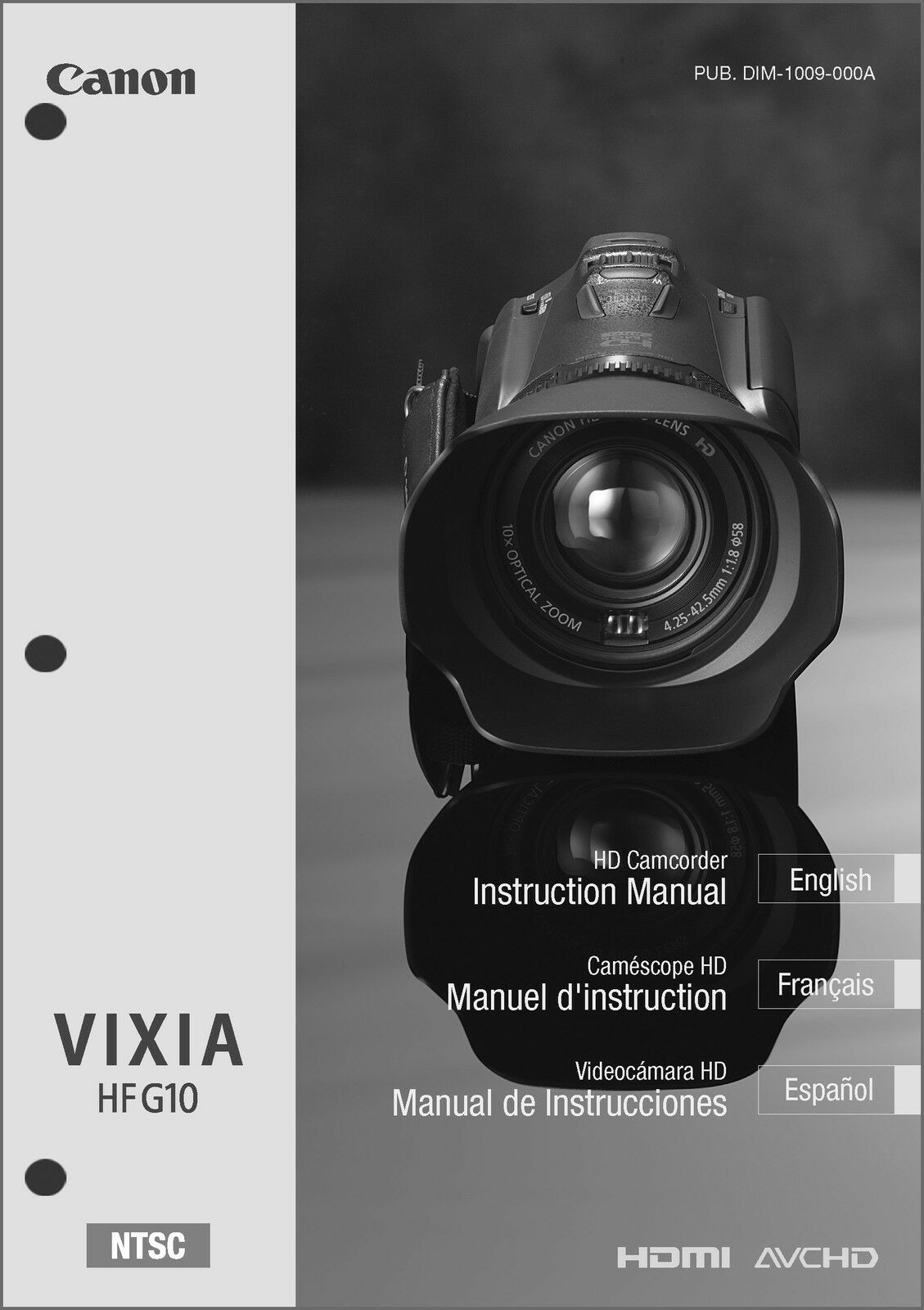 canon vixia hf g10 camcorder user instruction guide manual 9 95 rh picclick com Canon VIXIA HF M41 Canon VIXIA HF R400 Microphones