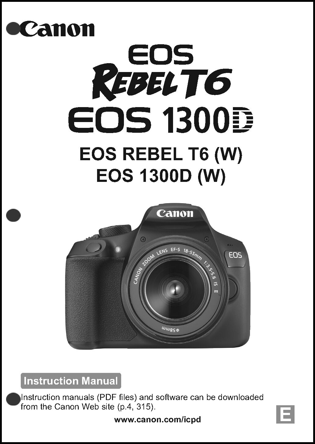 Canon REBEL T6 EOS 1300D Digital Camera User Instruction Guide Manual 1 of  1 See More