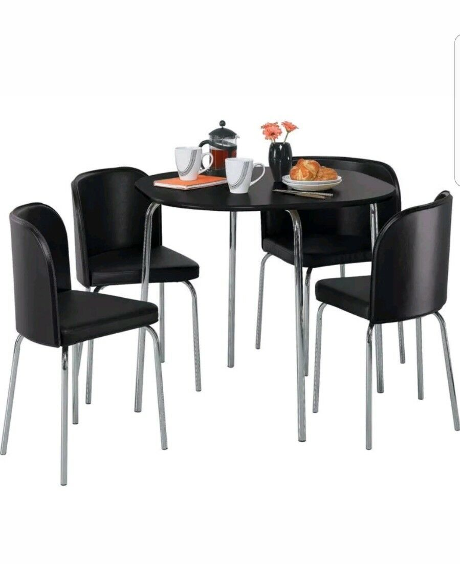 Hygena amparo black dining table 4 black chairs space for Black dining sets with 4 chairs