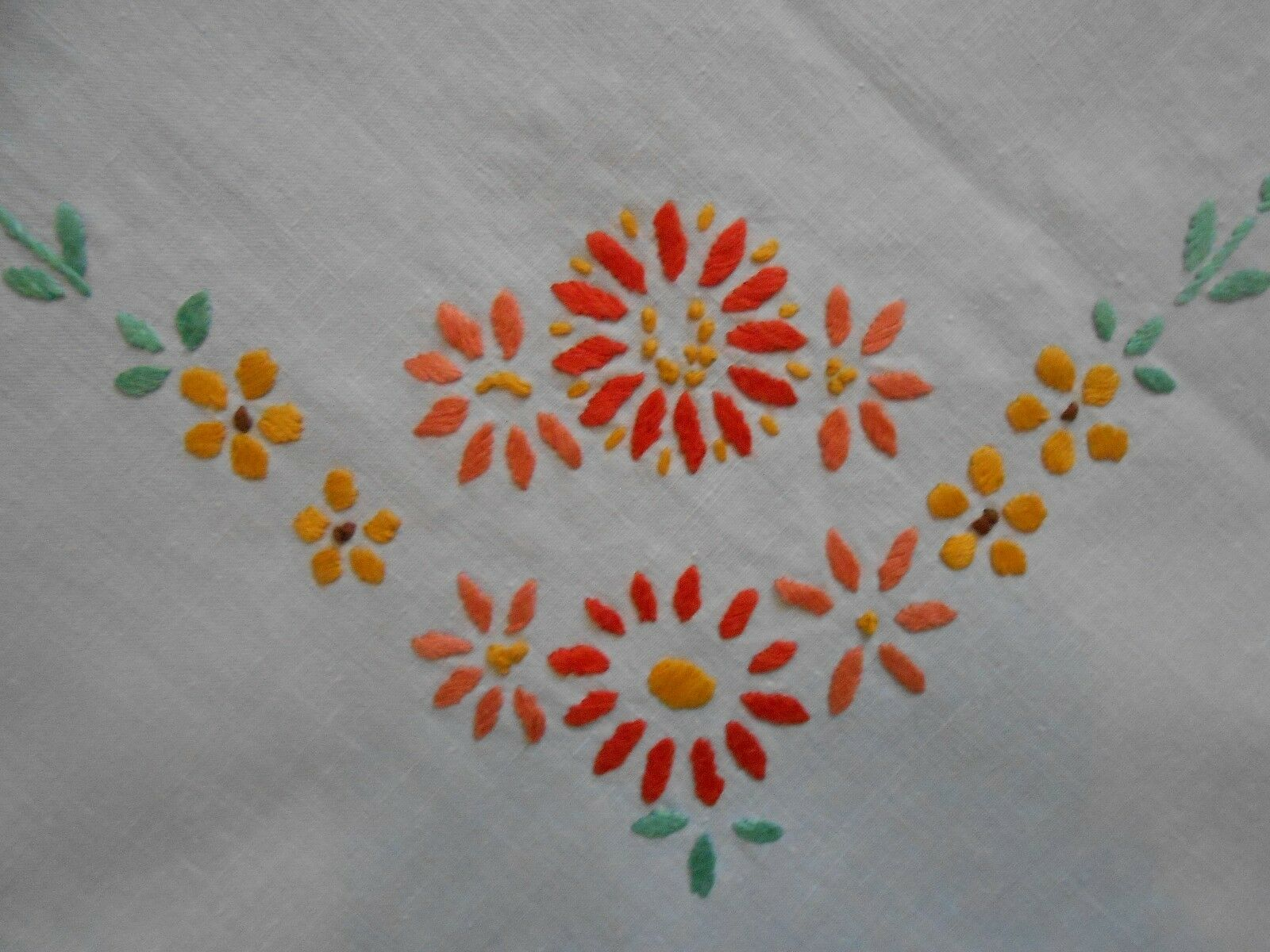 Beautiful Vintage Linen Hand Embroidered Tablecloth U2022 U00a33.50 - PicClick UK