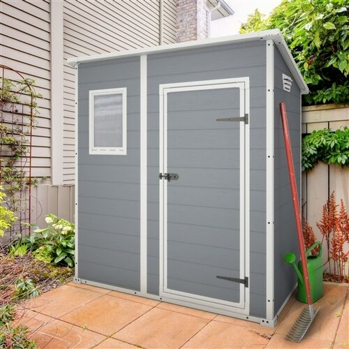 Keter manor pent plastic garden shed 6ft x 4ft outdoor for Plastic pent shed