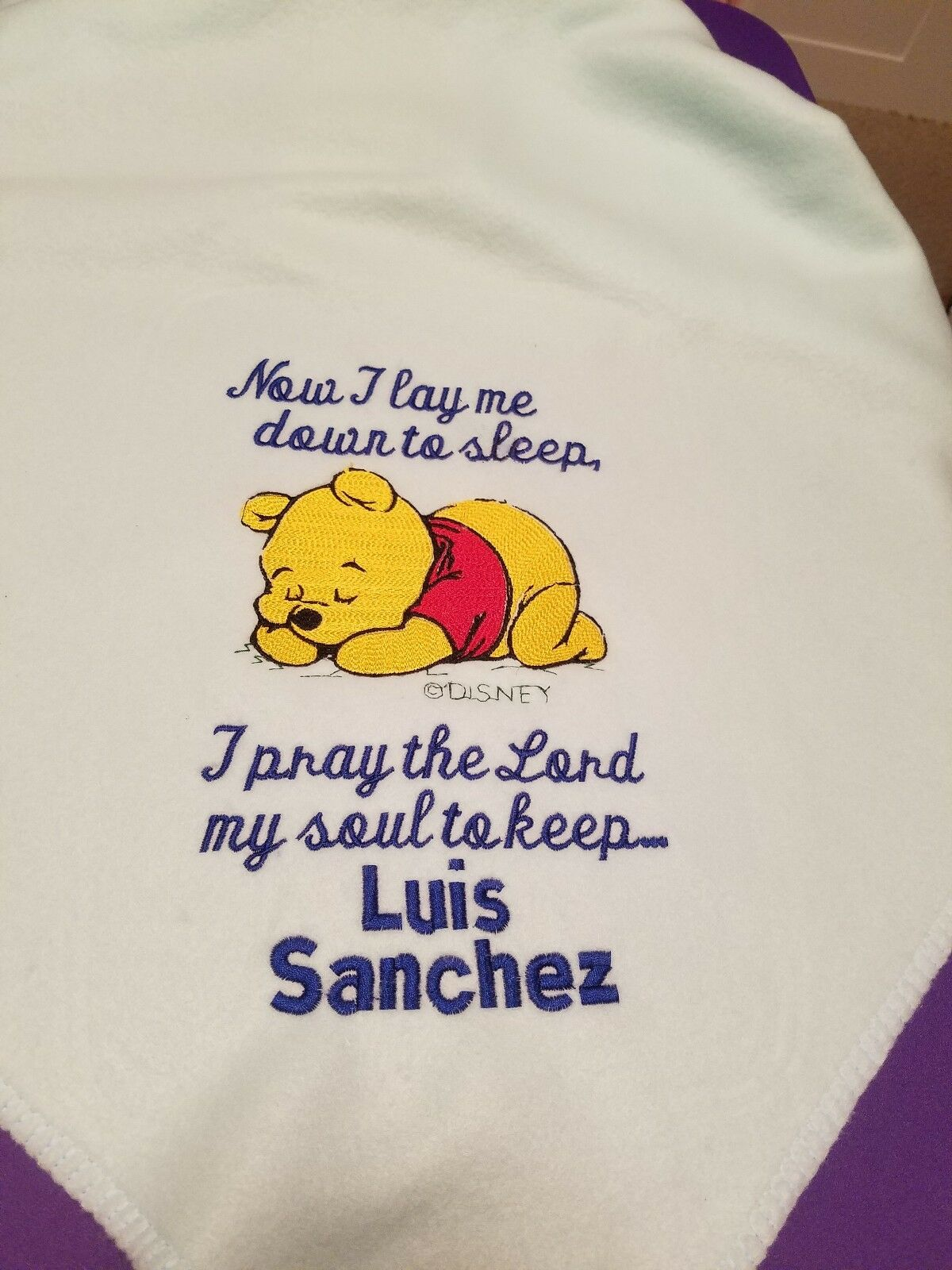 Personalized Embroidery Fleece Baby Blanket With Pooh Bear And