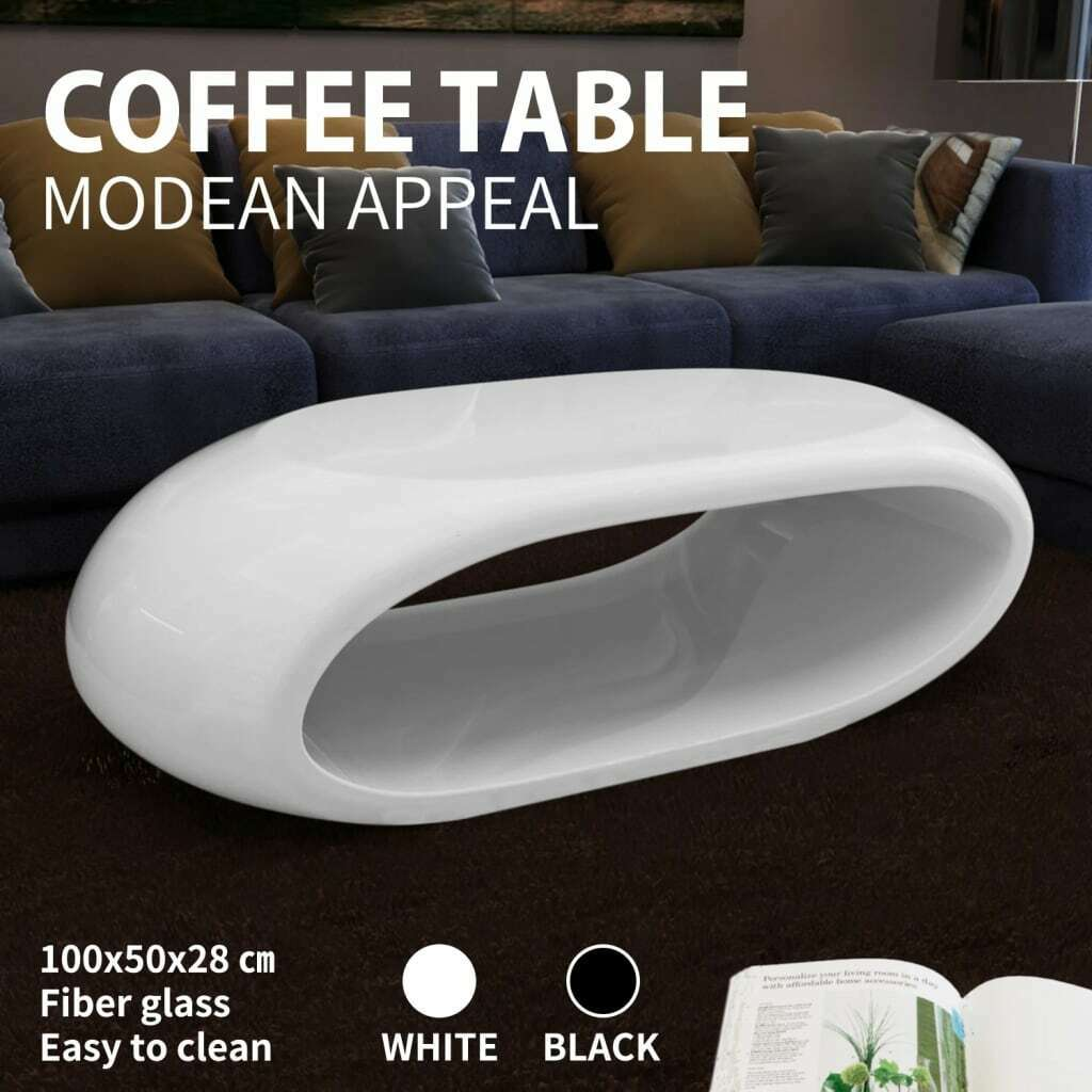 Modern high gloss fiberglass coffee table white black for Design couchtisch bowl highgloss