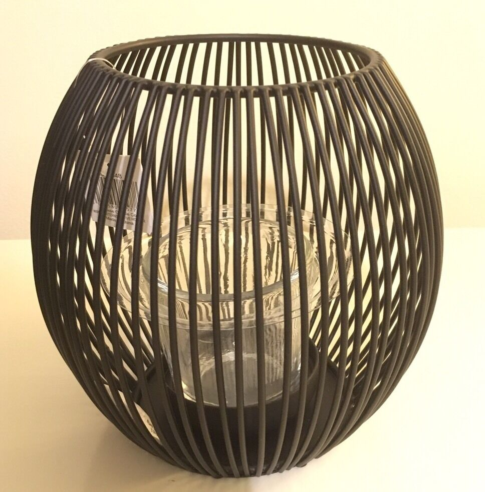 Yankee candle black wire lantern votive holder new and for Wire candle lantern