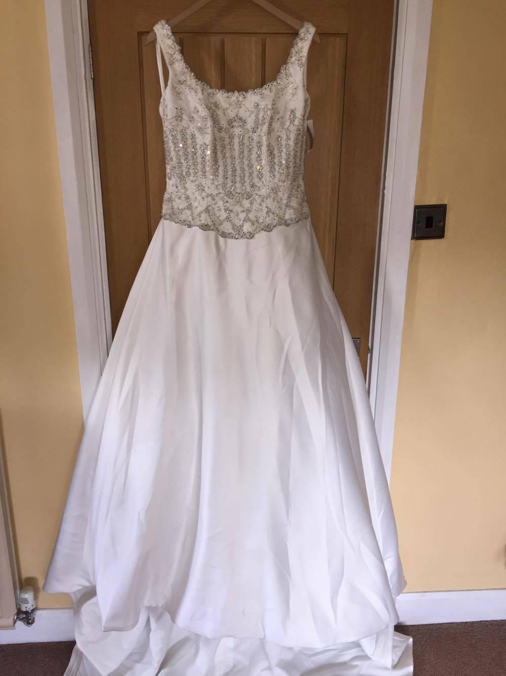 New mori lee satin ivory wedding dress style 3815 uk 14 for Mori lee wedding dress prices