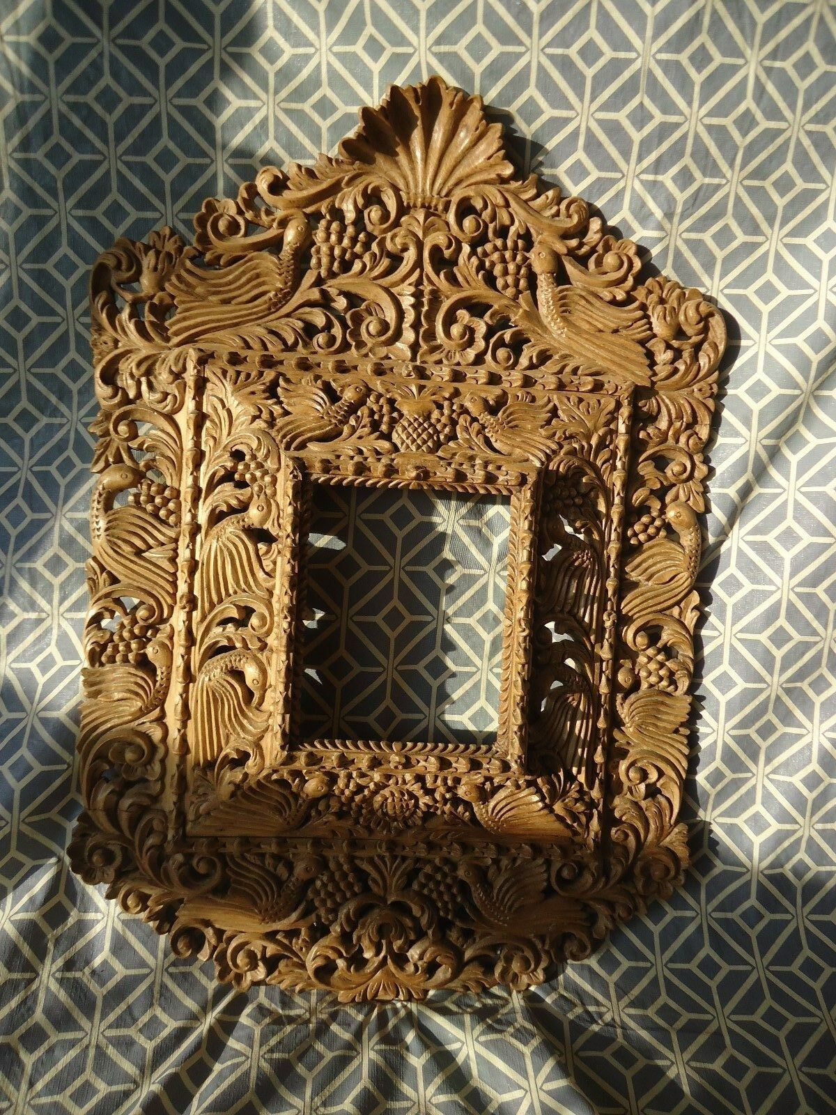 Hand carved wood ornate floral and birds baroque style for Baroque mirror canada