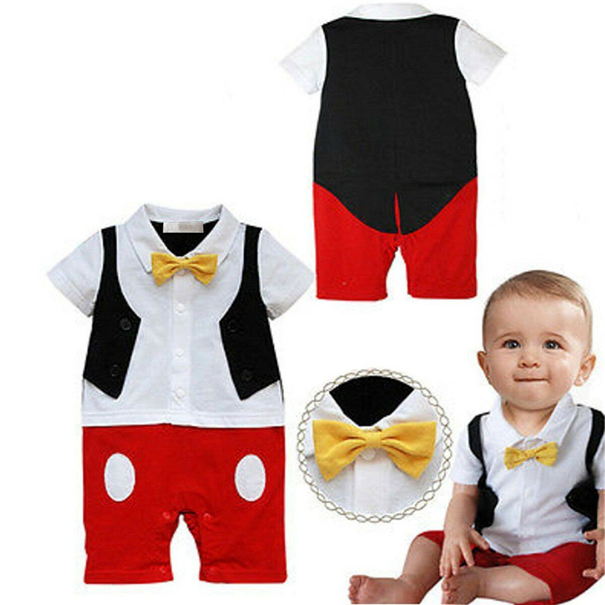 CHRISTMAS BABY BOY Formal Tuxedo Mickey Mouse Romper Outfits Clothes ...