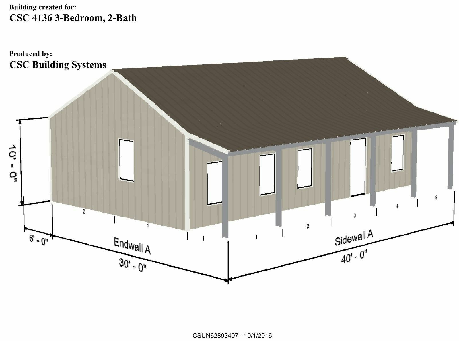 METAL FRAME HOUSE Kit - Model 4136 - 960 sqft - 2 Covered porches ...