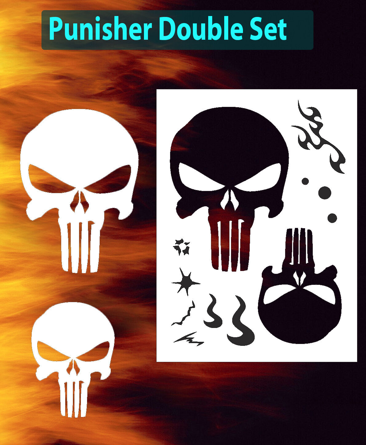 punisher skull double set large airbrush stencil spray vision