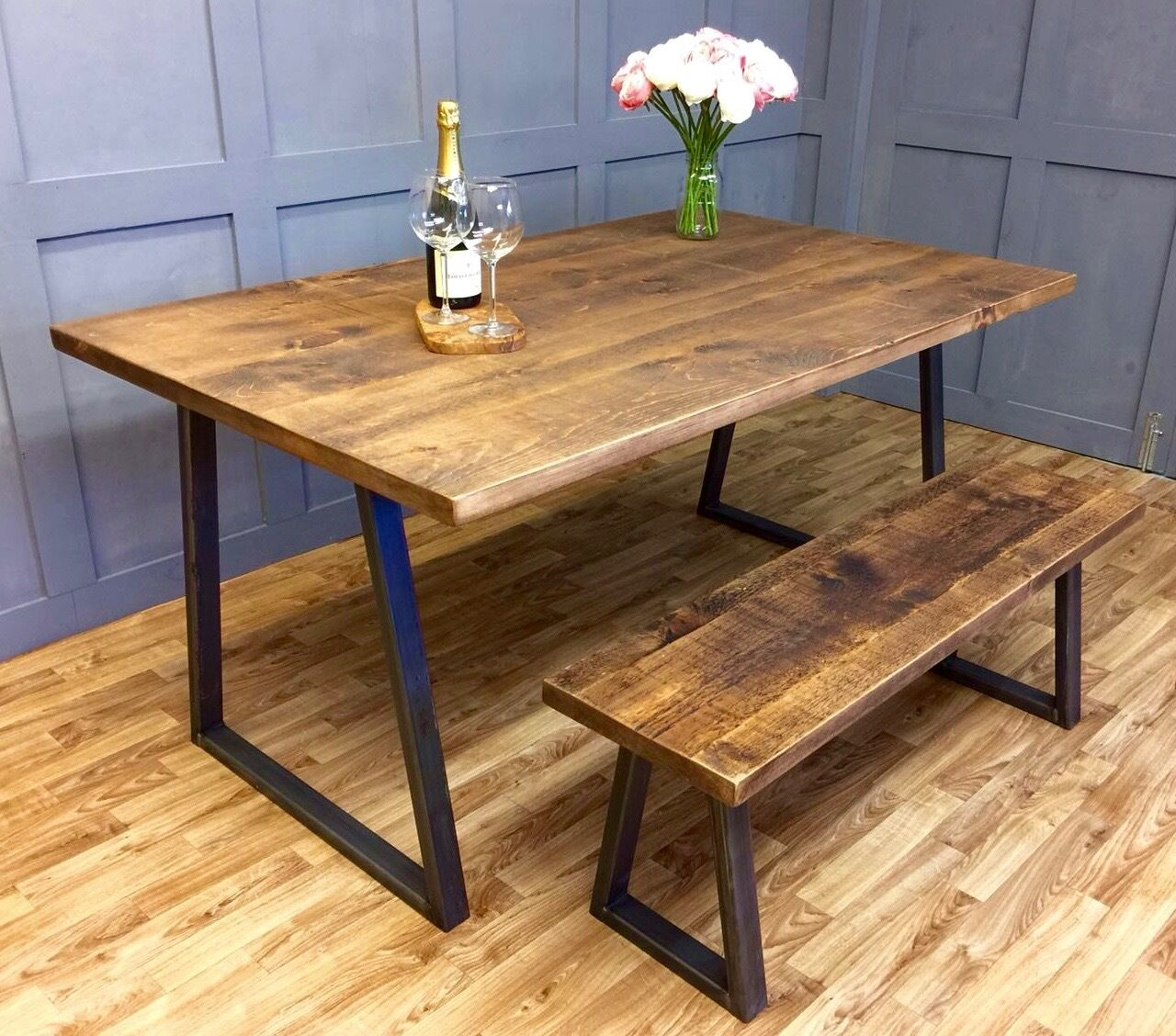 Industrial reclaimed dining table rustic solid antique kitchen farmhouse table - Industrial kitchen tables ...