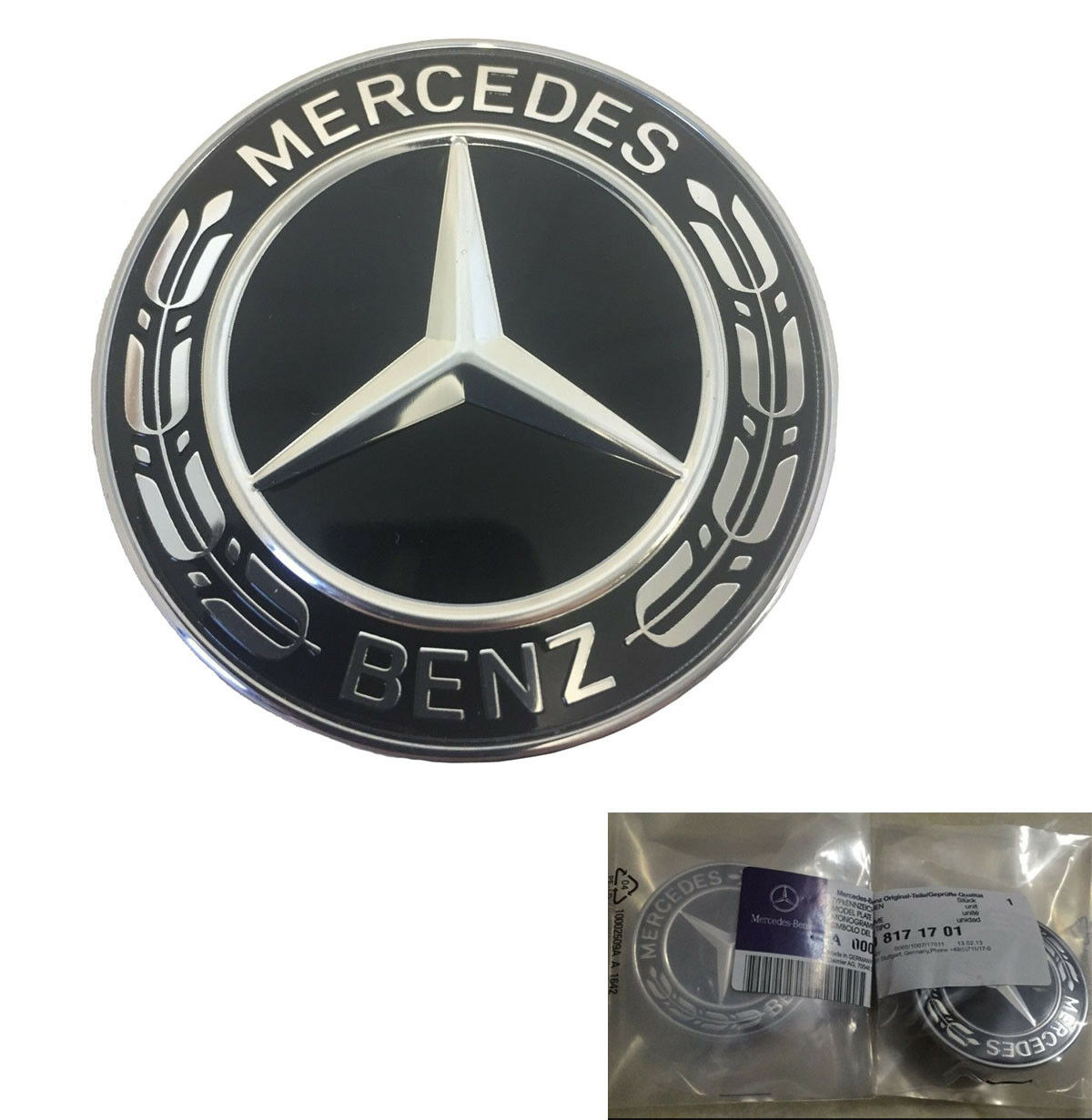 Genuine mercedes benz black wreath flat bonnet badge for Mercedes benz bonnet badge