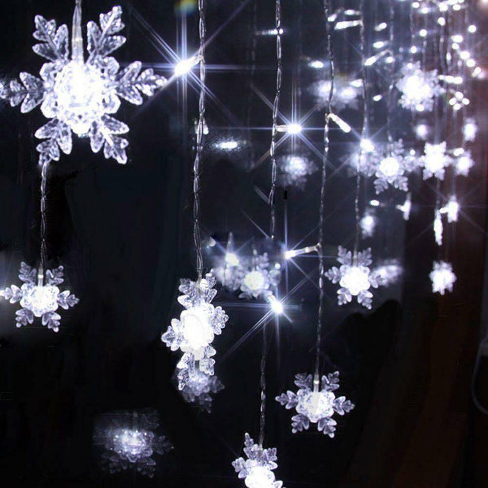 icicle snowflakes curtain window fairy string lights. Black Bedroom Furniture Sets. Home Design Ideas