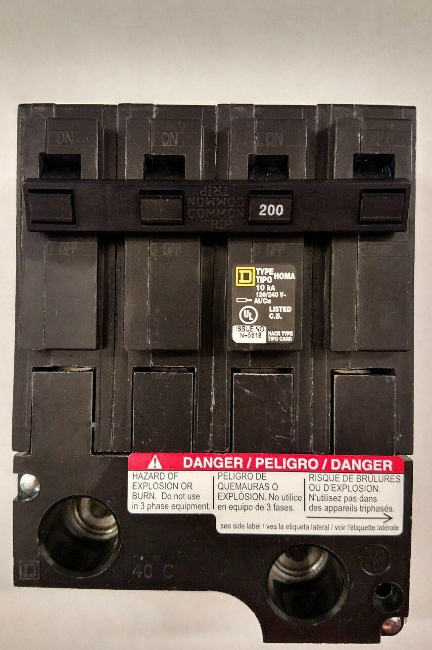 Hom2200bb New In Box 200 Amp 2 Pole Circuit Breaker Hom2200 Square D Breakers The Homelinetm Dual Function Homeline 1 Of 5free Shipping See More