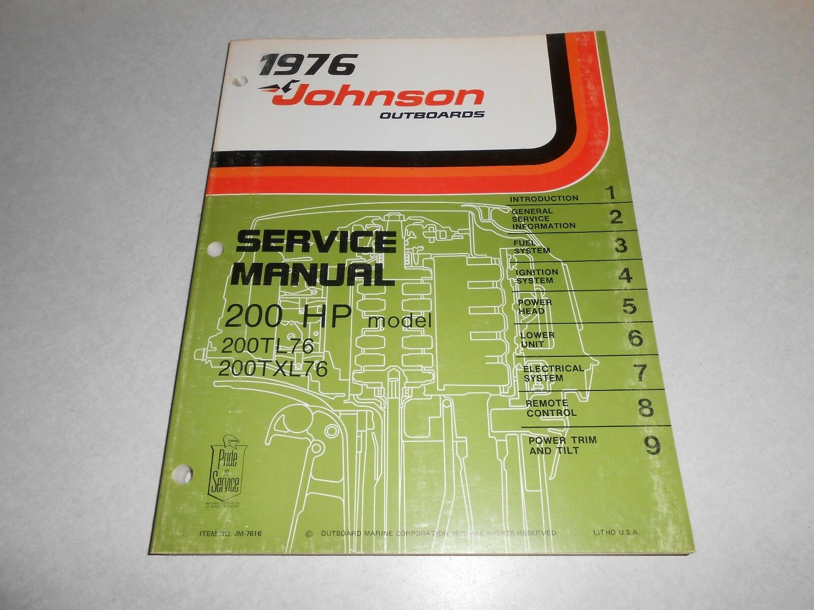 1976 200 hp Genuine JOHNSON EVINRUDE Outboard Repair & Service Manual 200hp  1 of 1Only 1 available ...