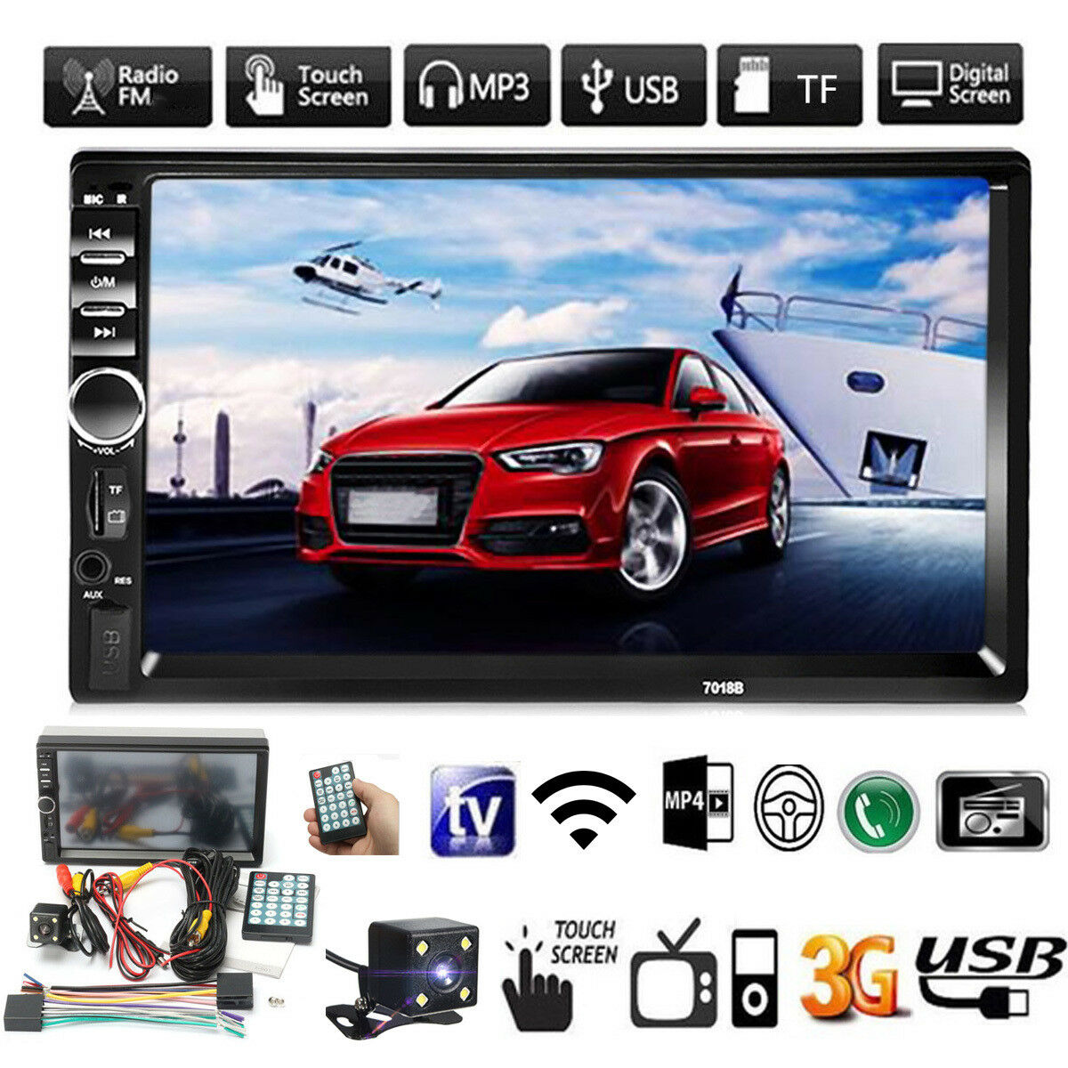 7 Double Car Radio Stereo Mp5 Mp3 Player 2 Din In Dash Bluetooth Fm 2004 Ford F 150 Aux 1 Of 12free Shipping