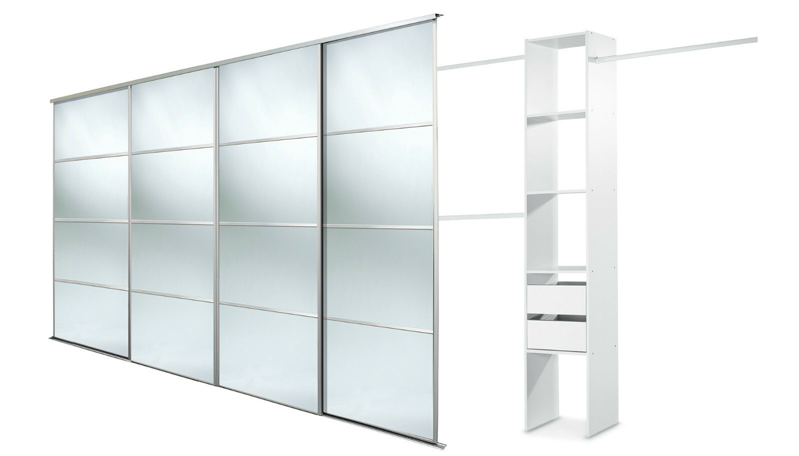 4 x 30 39 39 4 panel silver mirror doors basix units up to for Sliding glass doors 9ft