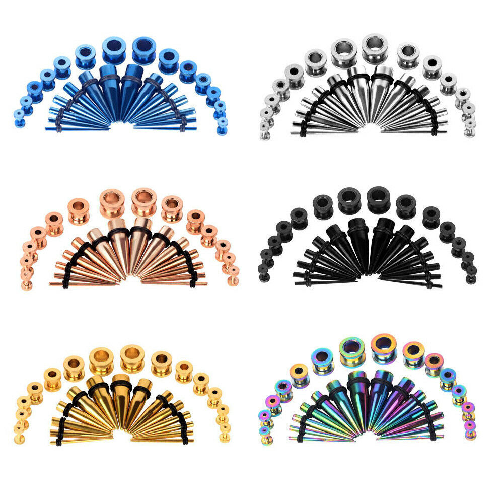 28pc Ear Stretching Gauges Kit Tapers Plugs Stainless Steel Tunnels 12G-00G 1 of 7FREE Shipping ...