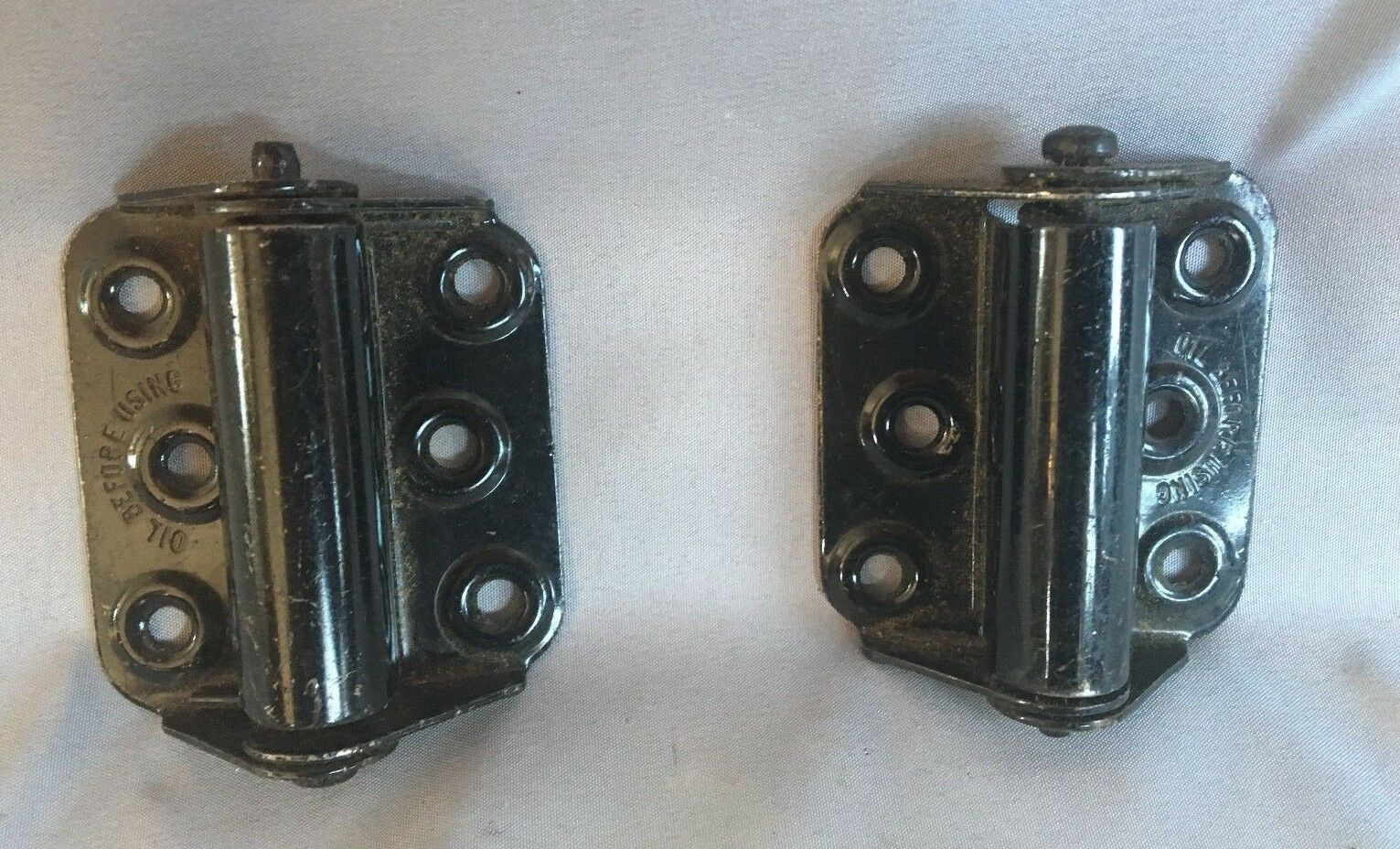 Two Antique Steel Spring Loaded Screen Storm Door Hinges Old Vtg