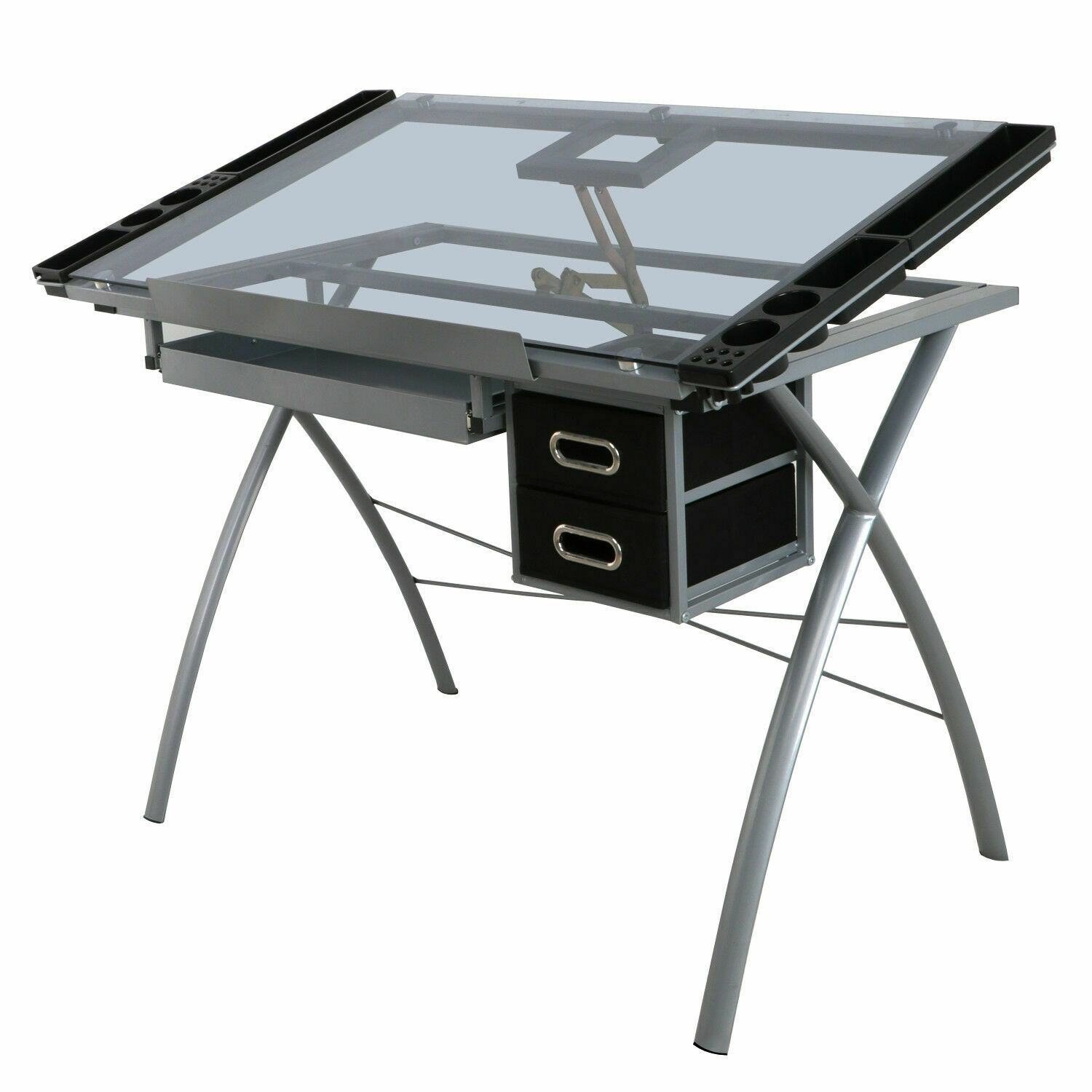 Beau Adjustable Drawing Desk Drafting Table Tempered Glass Top Art Craft Station  1 Of 1FREE Shipping ...