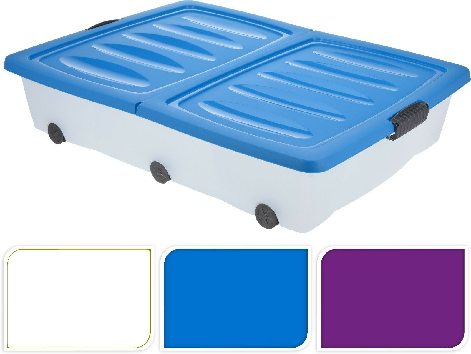 2 x 70L LARGE UNDERBED PLASTIC WHEELED STORAGE BOX CONTAINER WITH FOLDING LID 1 of 2FREE Shipping See More  sc 1 st  PicClick UK & 2 X 70L LARGE UNDERBED PLASTIC WHEELED STORAGE BOX CONTAINER WITH ...