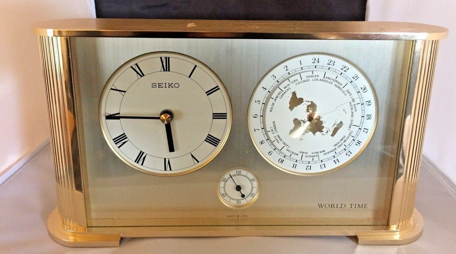 Rare vintage seiko quartz brass world time clock made by the 1 of 12only 1 available gumiabroncs Image collections
