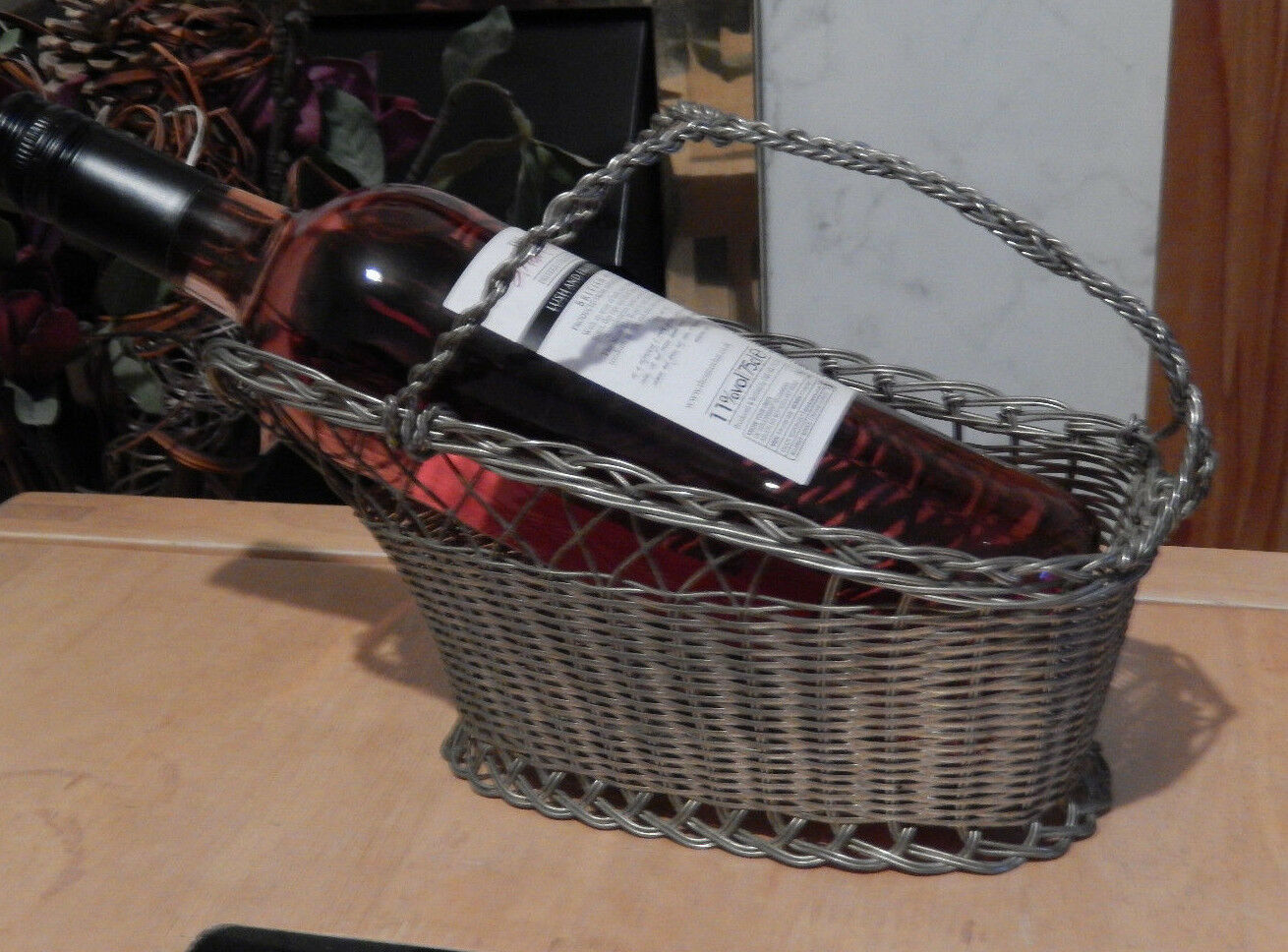 Wine bottle basket carrier holder woven metal wire silver plated vintage english - Wire wine bottle carrier ...