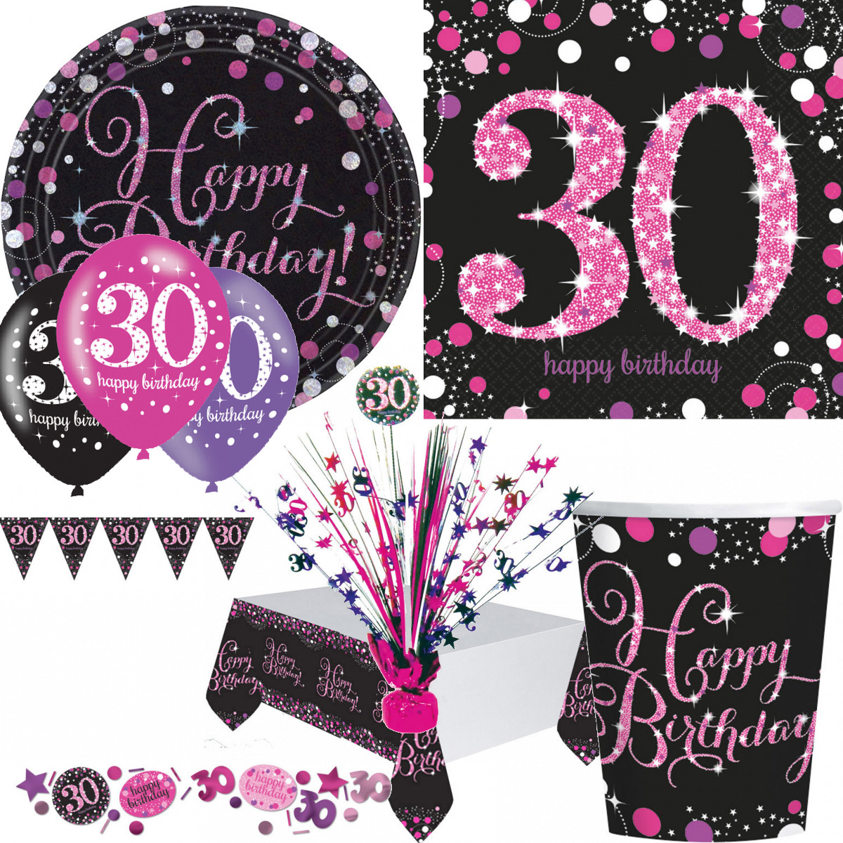 30 geburtstag dekoration mit zahl 30 deko runder geburtstag party tisch pink eur 2 60. Black Bedroom Furniture Sets. Home Design Ideas