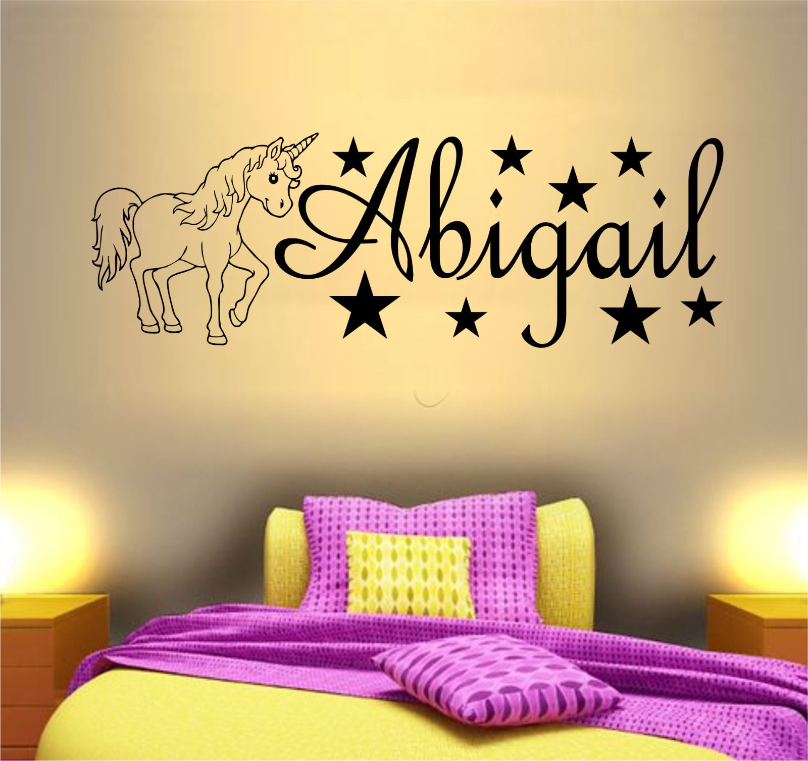 PERSONALISED NAME UNICORN Wall Art Sticker Girls Childrens Bedroom ...