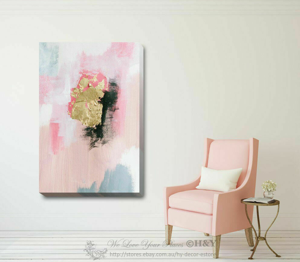 GOLD PINK STRETCHED Canvas Print Framed Wall Art Home Office Shop ...