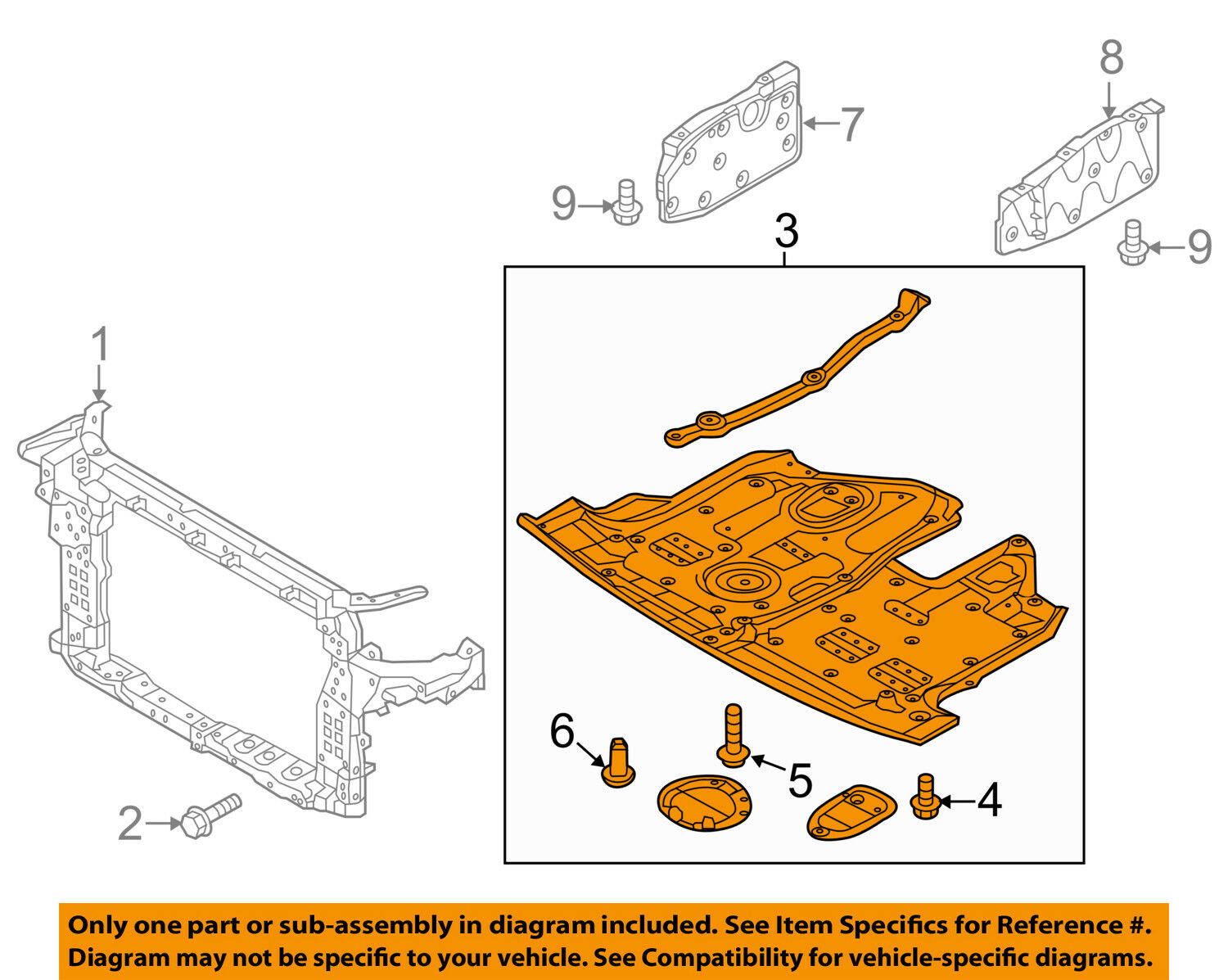 Hyundai Oem Santa Fe Splash Shield Under Engine Radiator Cover Diagram 291102w800 1 Of 2free Shipping
