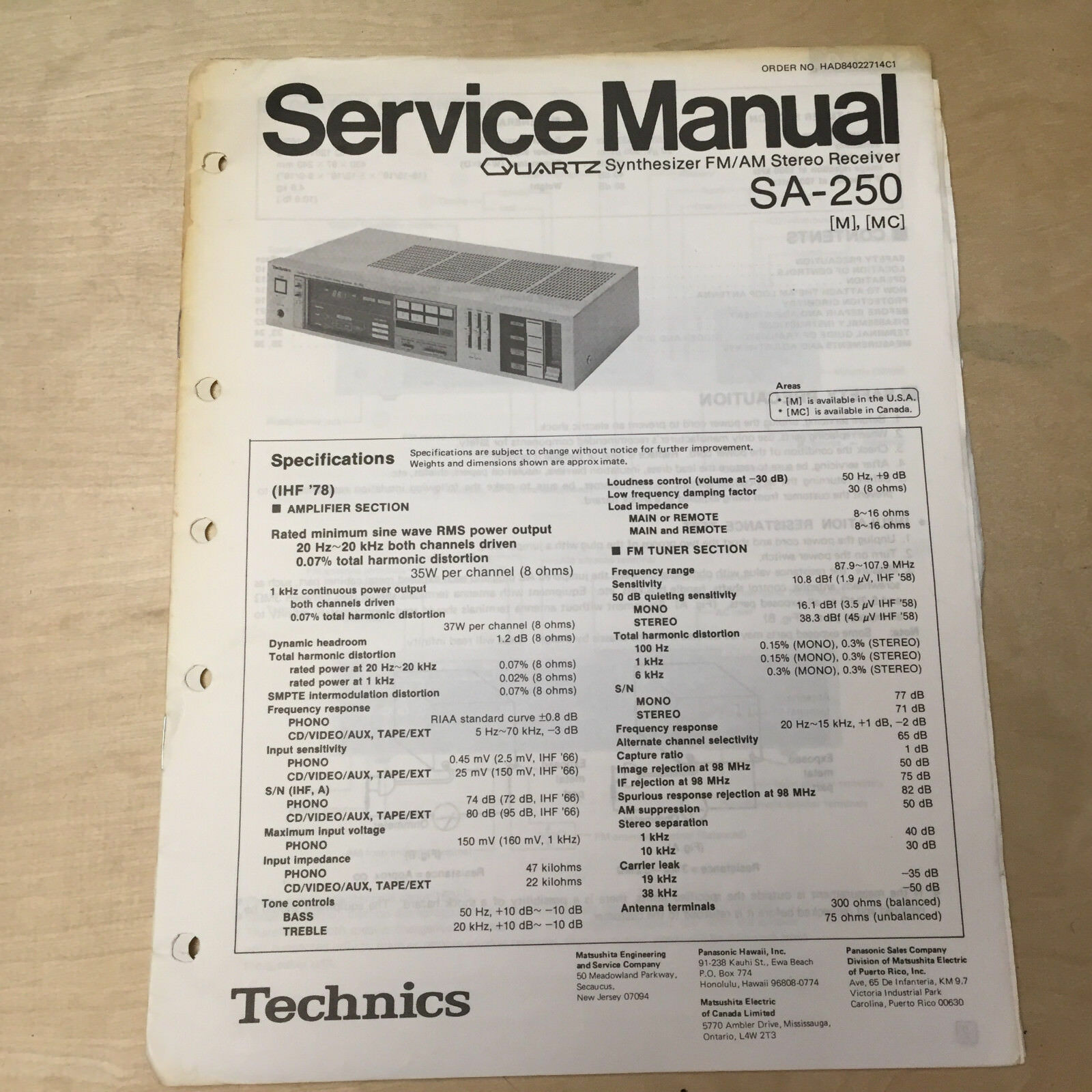 Technics Service Manual For The Sa 250 Receiverrepairoriginal Home Stereo Wiring Diagram 1 Of 1only Available