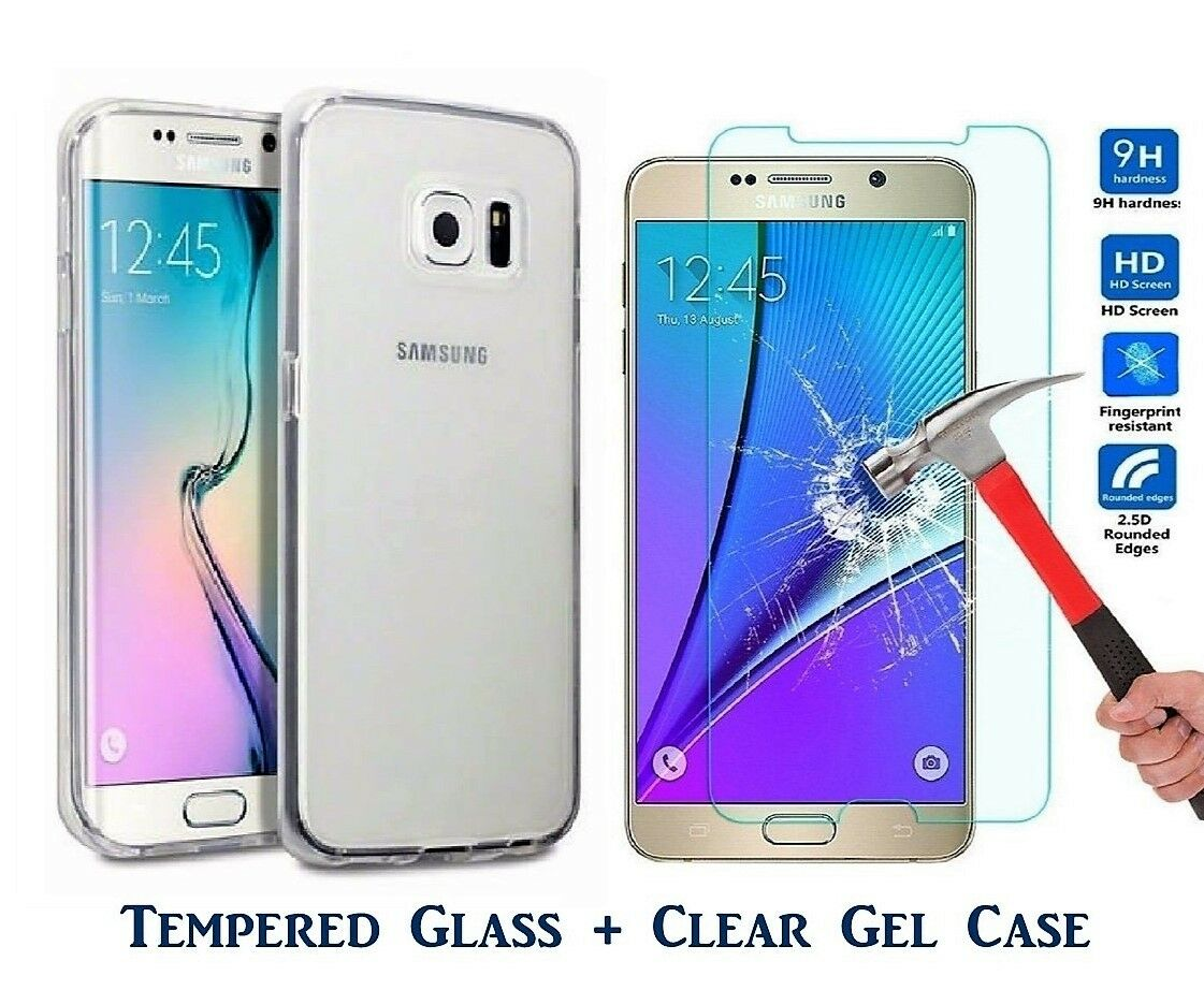 Samsung Galaxy J3 2017 Tempered Glass Screen Protector And Tpu Gel Case For 2016 J320 Clear Gratis Ultrathin Soft Uk 1 Of 4free Shipping
