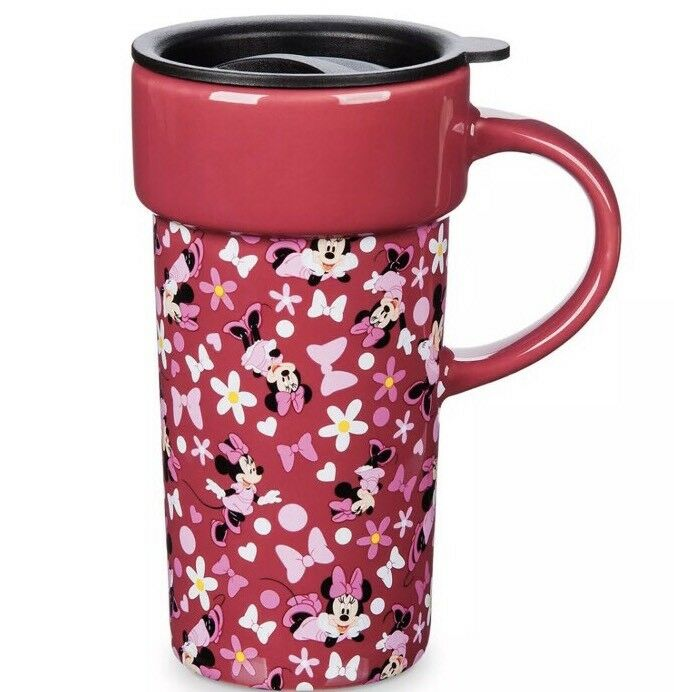 DISNEY STORE MINNIE Mouse Travel Mug Pink 12oz Coffee Cup 6\