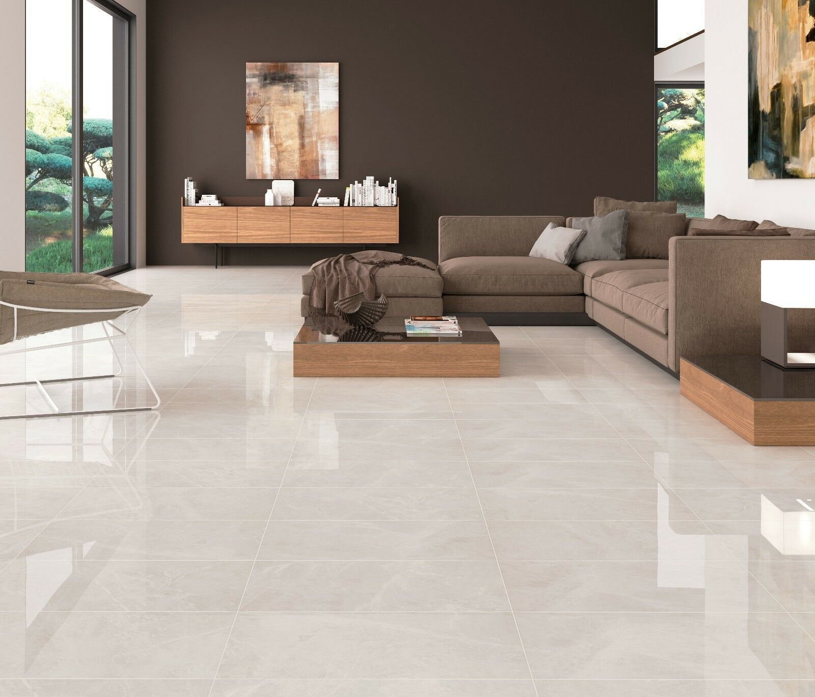 IVORY WHITE MARBLE Stone Effect Gloss Ceramic Wall Floor Tile Cut - 10x10 white ceramic tiles