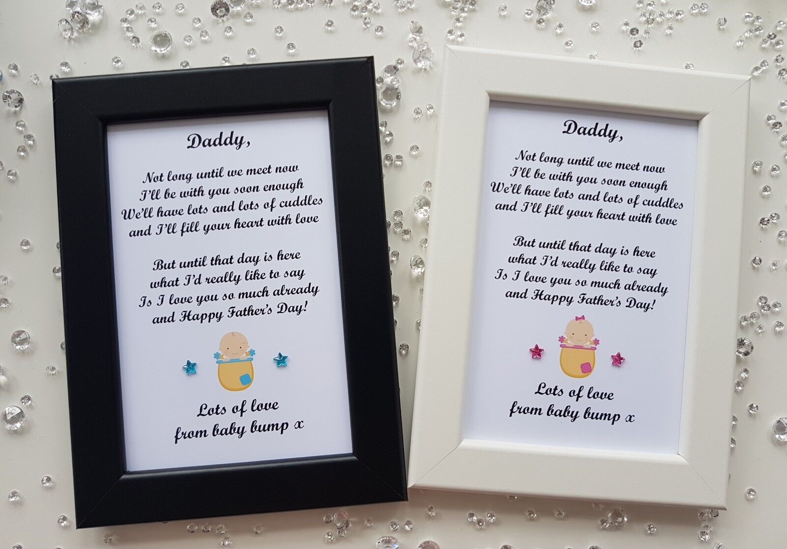 Fathers Day Photo Frame Print Gift Personalised from Baby Bump Daddy Grandad 1 of 4 See More