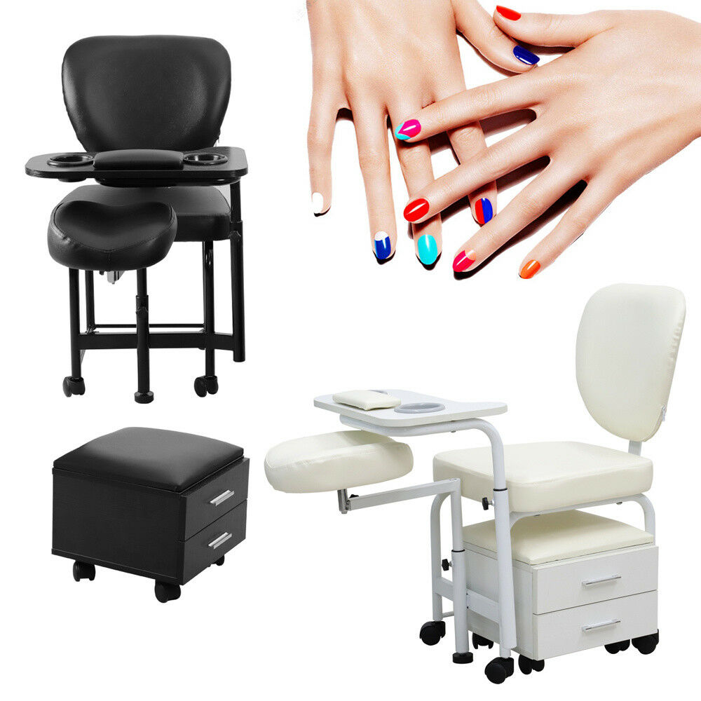 BEAUTY MANICURE DESK Mobile Technician Station Table Nail Bar Chair ...
