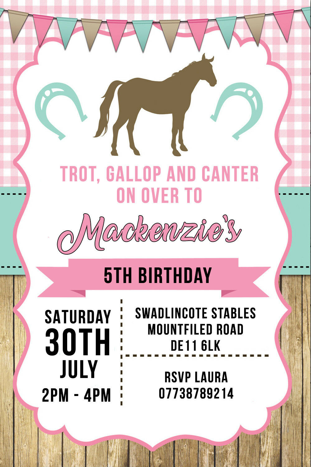 PERSONALISED HORSE Riding Pony Birthday Party Invites inc Envelopes ...