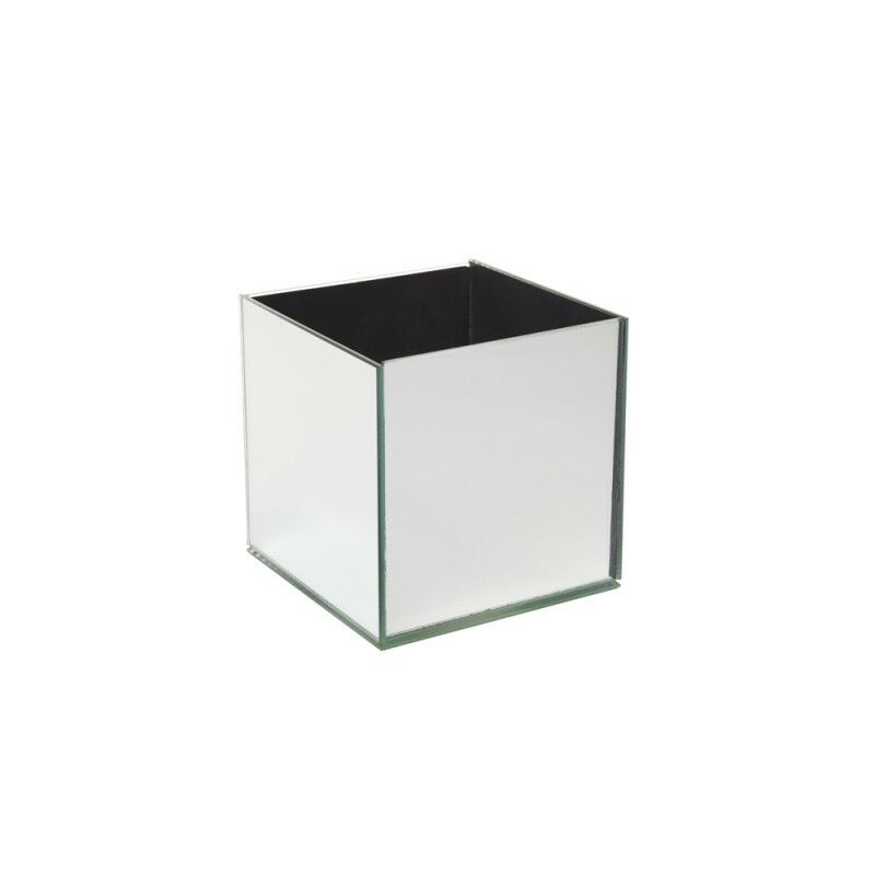 4 Oasis Glass Mirrored Cube Vase Clear 10cm Square Flower Table