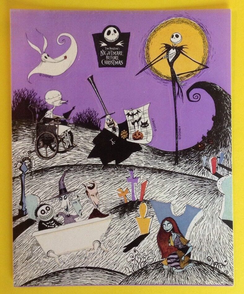 vintage tim burton nightmare before christmas disney sticker sheetrarehtf 1 of 2only 1 available - Nightmare Before Christmas Disney