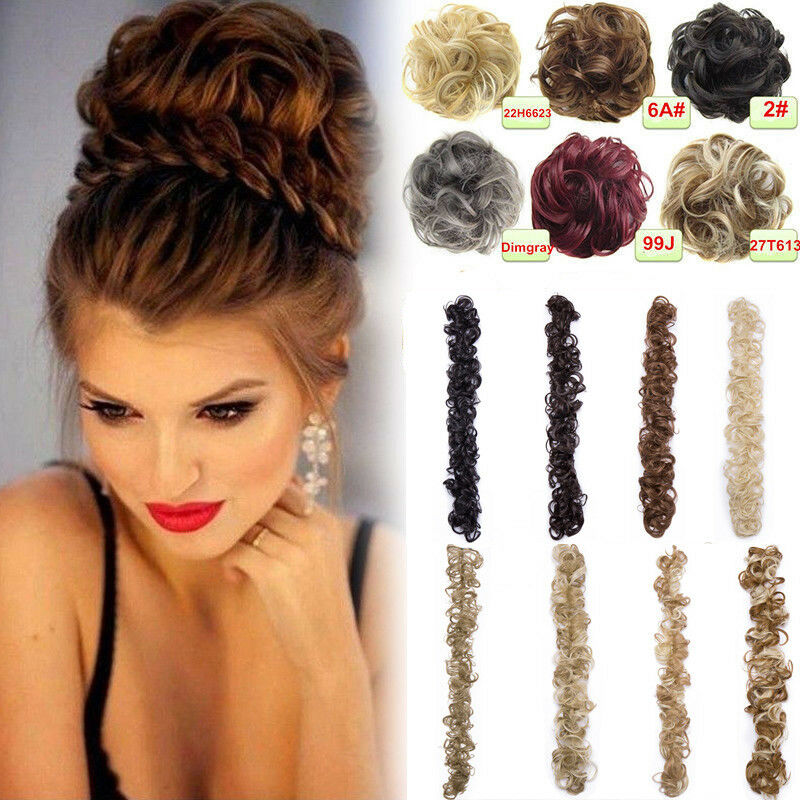 Real Thick New Curly Hair Extension Hairpiece Bun Updo Scrunchie