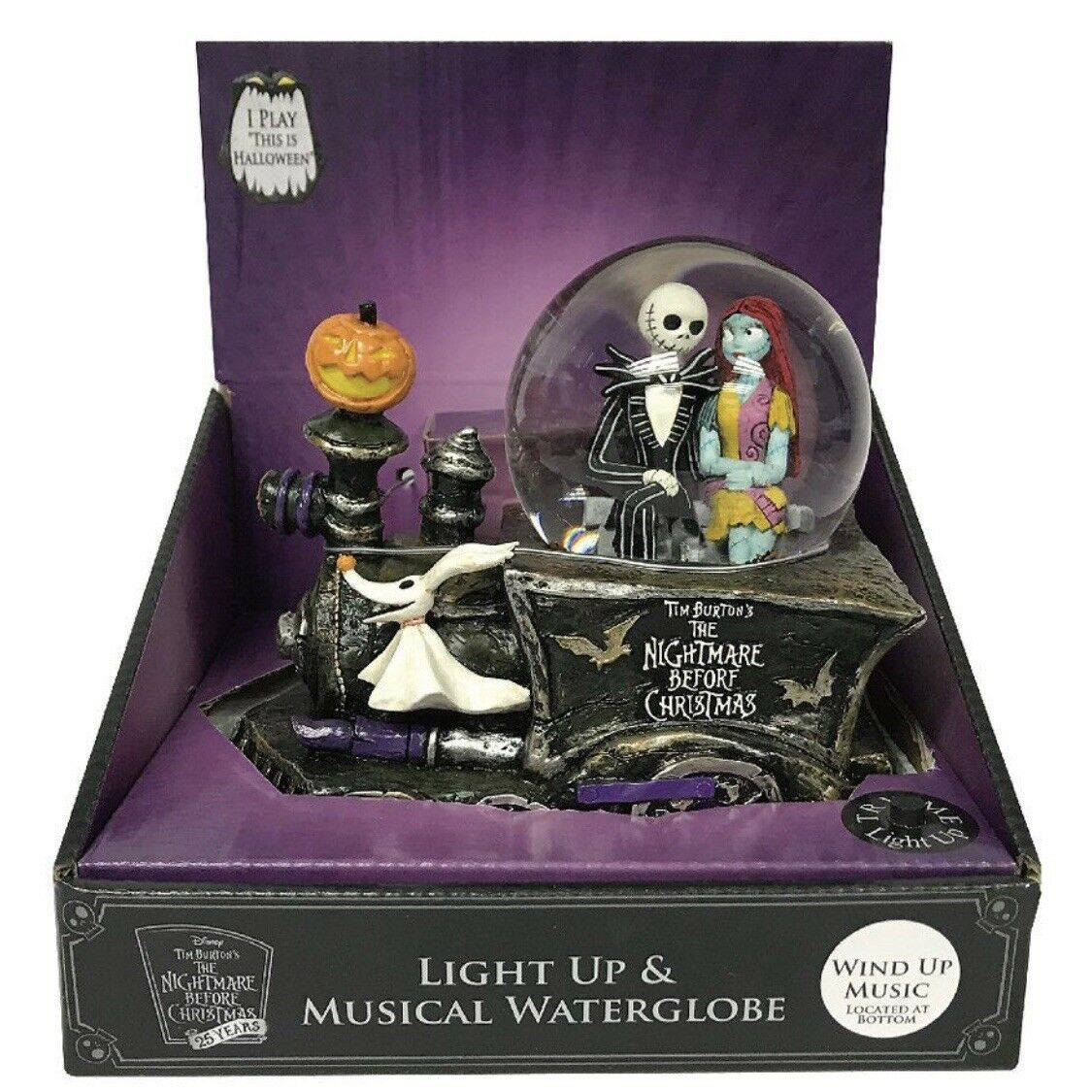 NIGHTMARE BEFORE CHRISTMAS Jack Sally Zero Musical Snow Globe Train ...