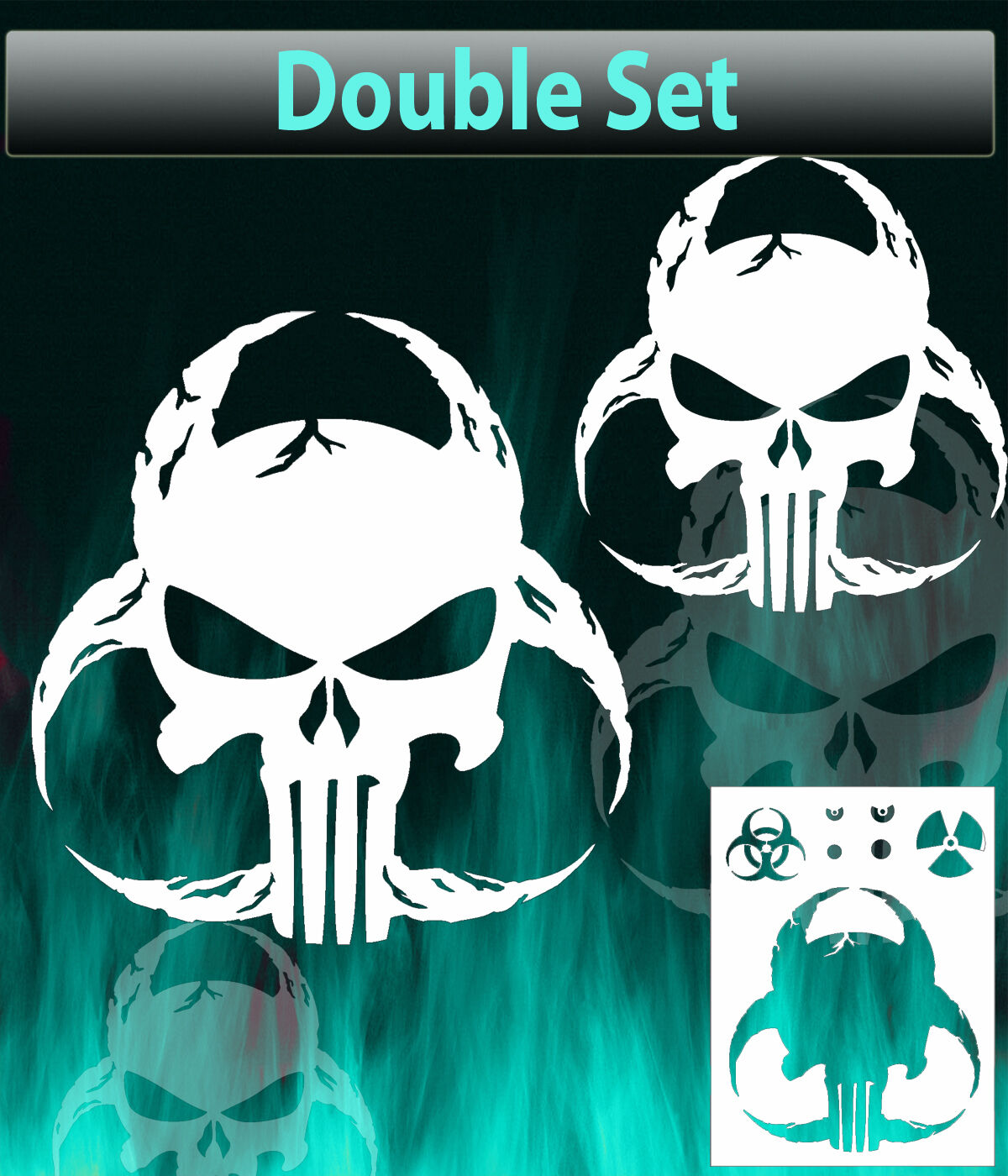 Punisher Skull Biohazard Airbrush Stencil Spray Vision Template 1 Of 1FREE Shipping