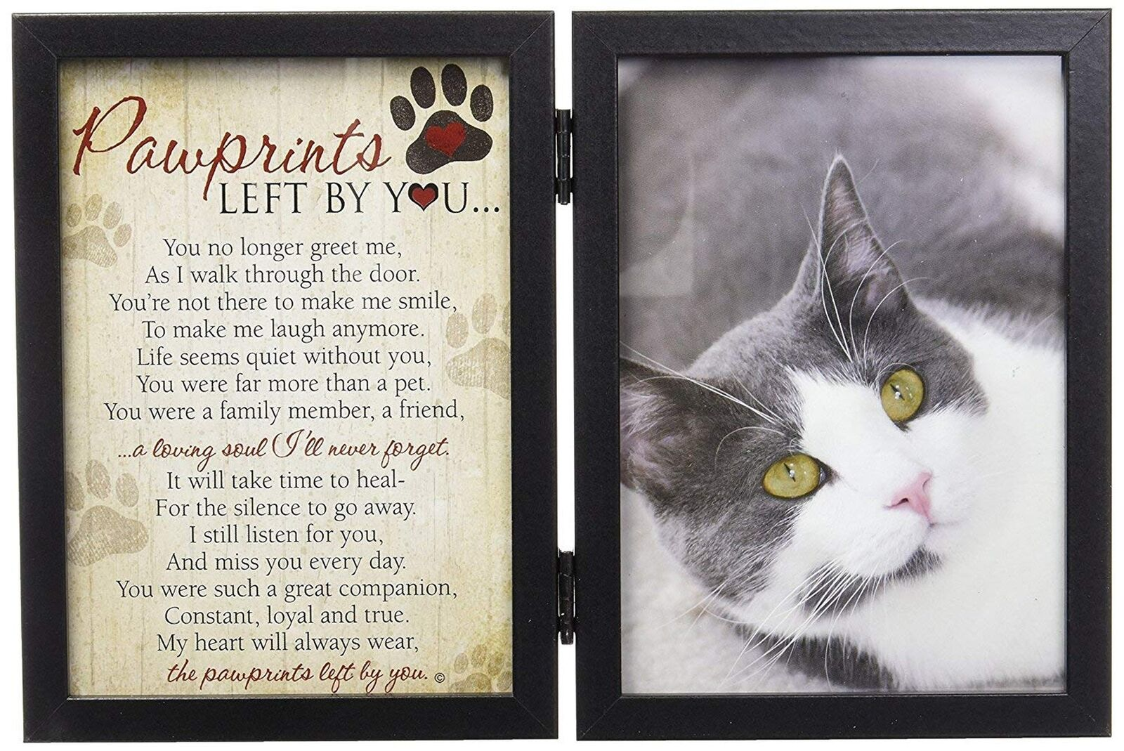 PAWPRINTS LEFT BY You Memorial 5x7 Frame for Cat with Pet Tag ...