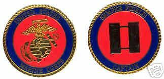 USMC MARINE CORPS CAPTAIN O-3 COLOR LOGO CHALLENGE COIN