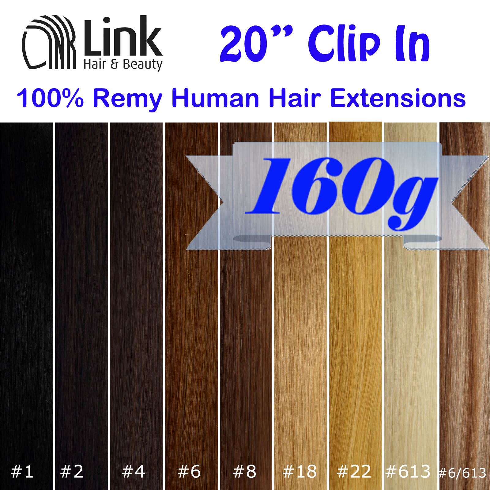 "20""CLIP IN REMY HUMAN HAIR EXTENSION Brown Blonde Black"
