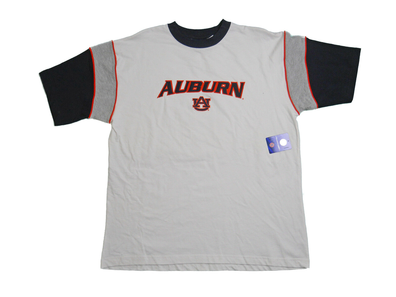 AUBURN TIGERS ADULT WHITE SHORT SLEEVE COLOR BAND DESIGN T-SHIRT NEW