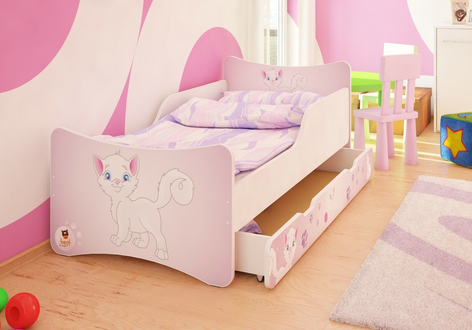 best for kids kinderbett bett mit schublade matratze. Black Bedroom Furniture Sets. Home Design Ideas