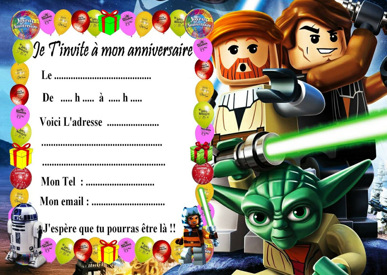 5 cartes invitation anniversaire lego star wars 01 eur 2. Black Bedroom Furniture Sets. Home Design Ideas